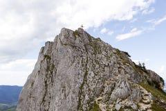 Incrocio della sommità della montagna di Teufelstaettkopf, alpi bavaresi, tedesche Fotografia Stock Libera da Diritti