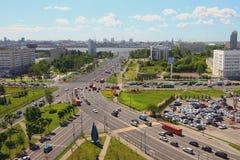 Incrocio delle strade transitabili in città Kazan, Tatarstan, Russia Immagine Stock