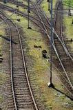 Incrocio di ferrovia sulla ghiaia Fotografie Stock Libere da Diritti