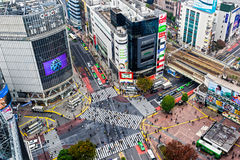 Incrocio di Shibuya, Tokyo, Giappone Fotografie Stock