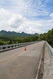 Incrocio lungo del ponte il fiume nella montagna immagini stock