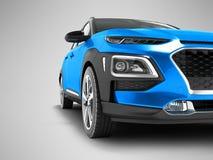 Incrocio moderno dell'automobile nella parte anteriore per la rappresentazione di viaggi 3D sul BAC grigio royalty illustrazione gratis