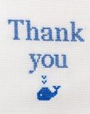 Incrocio ricamato frase piacevole Il ringraziamento vi ringrazia! Fotografia Stock Libera da Diritti