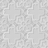 incrocio rotondo Dot Line Frame del quadrato del controllo di arte del Libro Bianco 3D illustrazione di stock