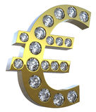 incrusted symbol för diamanter 3d euro royaltyfri illustrationer