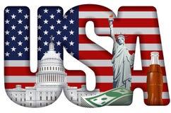 Incscription США с ориентир ориентирами Стоковая Фотография