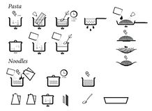 Inctructions of cooking pasta and noodles. Directions of cooking pasta and noodles. Vector icon set. Food preparation, time, boiling vector illustration