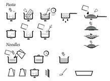 Inctructions de cocinar las pastas y los tallarines Ilustración del Vector