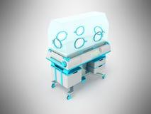 Incubadora para la representación azul clara 3d de los recién nacidos en backgroun gris libre illustration