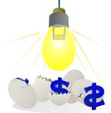 Incubate success with dollar on investment dollar egg Stock Photography