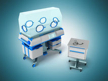 Incubator for children blue 3d rendering on blue background Royalty Free Stock Images