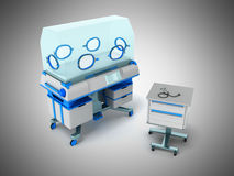 Incubator for children blue 3d rendering on gray background Royalty Free Stock Photography