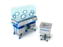 Incubator for children blue 3d rendering on white background Royalty Free Stock Image