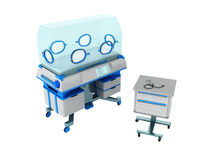 Incubator for children blue 3d rendering on white background no Stock Photos