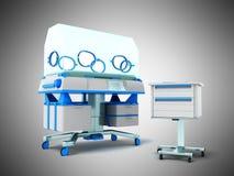 Incubator for children blue front 3d rendering on gray backgroun Stock Images