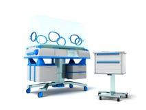 Incubator for children blue front 3d rendering on white backgrou Stock Image
