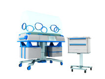 Incubator for children blue front 3d rendering on white backgrou Royalty Free Stock Photos