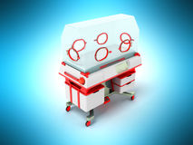 Incubator for children red perspective 3D render on a blue backg Royalty Free Stock Images