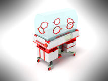 Incubator for children red perspective 3D render on a gray backg Royalty Free Stock Images