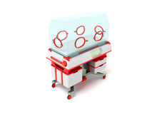 Incubator for children red perspective 3D render on a white back Stock Images