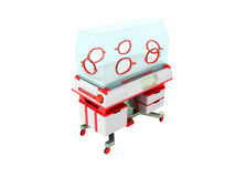 Incubator for children red perspective 3D render on a white back Stock Photos