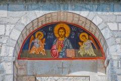 Incurvi con la maschera ortodossa di Jesus, Montenegro immagine stock libera da diritti
