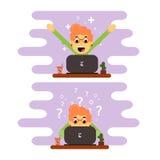 Indépendant de fille travaillant à un ordinateur Conception plate illustration libre de droits