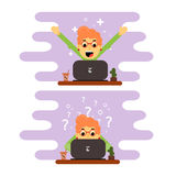 Indépendant de fille travaillant à un ordinateur Conception plate illustration stock
