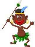 Indígenas felizes da dança dos desenhos animados Foto de Stock Royalty Free