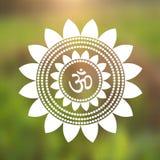 Indù di simbolo del OM di vettore in Lotus Flower Mandala Illustration Immagine Stock Libera da Diritti