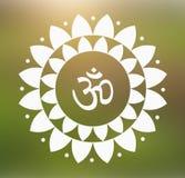 Indù di simbolo del OM di vettore in Lotus Flower Mandala Illustration Immagini Stock