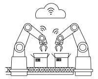 Indústria 4 0 cadeias de fabricação robóticos da rede wireless Linha arte não preenchida Fotografia de Stock Royalty Free