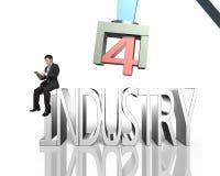 Indústria 4 0 conceitos, homem que usa o braço de controlo do robô da tabuleta Foto de Stock Royalty Free