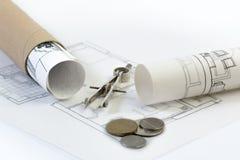 Indústria da construção civil, bens imobiliários e planos de investimento da propriedade Foto de Stock Royalty Free