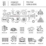 A indústria da floresta no estilo linear moderno Imagem de Stock Royalty Free