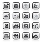 Indústria da produção de energia e ícones dos recursos Fotografia de Stock