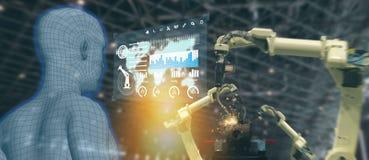 Indústria 4 de Iot 0 conceitos, coordenador industrial que usa a inteligência artificial ai aumentada, realidade virtual a monito imagens de stock
