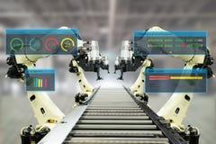 Indústria 4 de Iot A palavra da cor vermelha situada sobre o texto da cor branca Fábrica esperta usando os braços robóticos da au imagem de stock