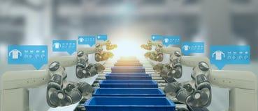 Indústria 4 de Iot A palavra da cor vermelha situada sobre o texto da cor branca Fábrica esperta usando os braços robóticos da au foto de stock