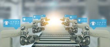 Indústria 4 de Iot A palavra da cor vermelha situada sobre o texto da cor branca Fábrica esperta usando os braços robóticos da au foto de stock royalty free