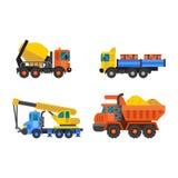 A indústria do caminhão de caminhão basculante e do guindaste de construção vector a ilustração ilustração stock