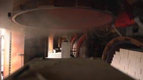 Indústria do tijolo Vista do vapor do secador, close-up video estoque
