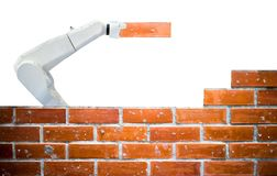 Indústria esperta 4 do robô 0 telecontroles humanos da força da construção civil do tijolo do braço foto de stock royalty free