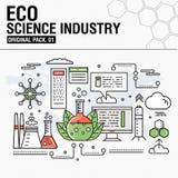 Indústria moderna da ciência do eco Linha fina ícones ajustados Foto de Stock