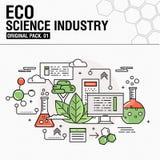 Indústria moderna da ciência do eco Linha fina ícones ajustados Foto de Stock Royalty Free
