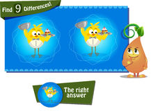 Ind 9 differences chicken 1. Visual Game for children. Task: find 9 differences Royalty Free Stock Photography