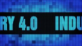 Ind?stria 4 0 placas do sinal do tela da parede do diodo emissor de luz de Front Text Scrolling ilustração stock