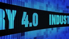 Ind?stria 4 0 placas laterais do sinal do tela da parede do diodo emissor de luz do desdobramento do texto ilustração stock