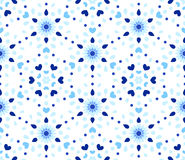Indaco Dots Hearts Blue Flower Pattern Immagine Stock
