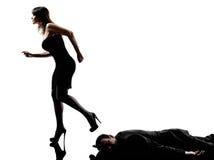 Indagini penali del cadavere della donna Fotografie Stock Libere da Diritti